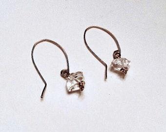 10mm Herkimer diamond earrings on 14k gold fill ear wires, minimalist, april birthstone