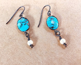Turquoise and freshwater pearl, drop earrings with oxidized finish in gunmetal on oxidized sterling earwires