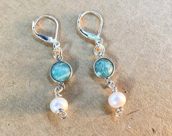 Amazonite and pearl drop earrings on silver plated ear wires