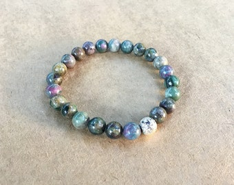 Ruby in kyanite 8mm beaded bracelet with electroplated silver lava bead