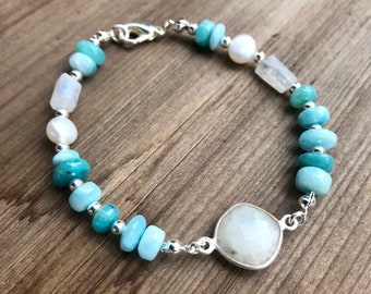 Larimar smooth rondelles, moonstone freeform rectangles and connector, flat back pearls beaded bracelet, sterling spacers
