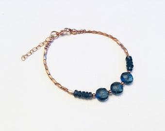 14k Rose gold vermeil over 925 sterling , London blue topaz quartz coin beads, faceted tiny beaded bracelet, kyanite rondelles, Karen Hill