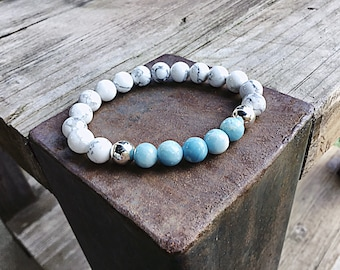 8mm larimar quartz and howlite beaded bracelet, silver, stretch, stacking, ocean blue