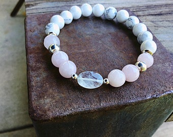 AA rainbow moonstone oval with 8mm rose quartz, howlite and sterling mix beaded bracelet, sterling spacers, stacking