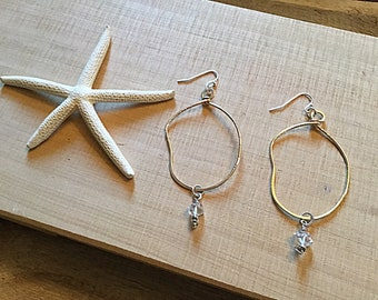 Herkimer diamond drops on 14k gold fill large freeform hoop textured earrings, thin, sterling ear wires, hammered,mixed metal