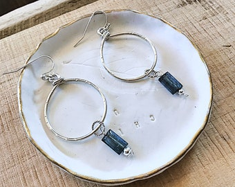AAA moss blue kyanite baguettes, hoops on sterling wire earrings, textured