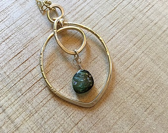 AAA watermelon tourmaline smooth slice brioletteon 14k Gold fill textured freeform pendant necklace, rectangular chain