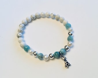 Genuine 7mm larimar beaded bracelet, sterling giraffe charm, howlite, pearls and sterling beads