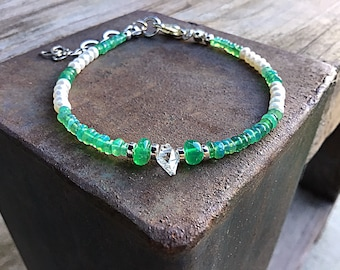 Green fire opal and freshwater pearls bracelet with herkimer diamond, sterling,april birthstone