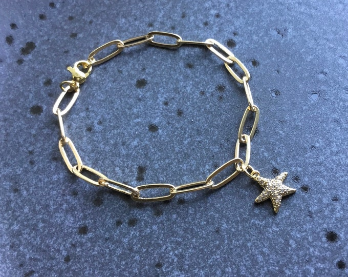 14k gold fill paperclip chain bracelet 11.8 x 4.7mm with pave starfish charm, simple, elongated