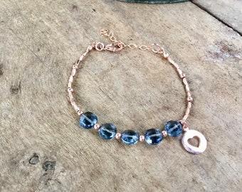 14k Rose gold vermeil over 925 sterling , heart, London blue topaz quartz coin beads, faceted tiny beaded bracelet, faceted beads, Karen Hil