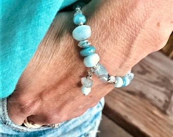 Larimar smooth rondelles, moonstone ovals, freeform aquamarine beads, Karen Hill mix, tiny kyanite beaded bracelet, sterling mix, charm