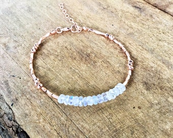 14k Rose gold vermeil over 925 sterling , rainbow moonstone rondelle disc beads, faceted tiny beaded bracelet, Karen Hill Tribe