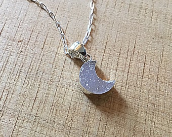 White druzy agate crescent moon charm on dainty silver chain, minimalist
