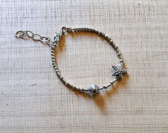 Karen Hill tribe silver bracelet with starfish and shell beads, faceted,tiny