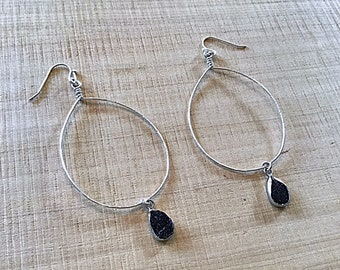 Black druzy agate large teardrop sterling textured earrings, thin, hammered