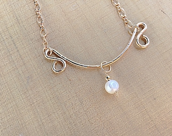 Freshwater pearl charm on 14k gold fill pendant necklace, swirly, textured on 14k gold fill figure 8 chain,