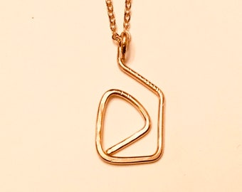14k Gold fill hammered freeform geometric pendant necklace on dainty 10k gold plated chain