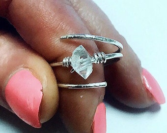 Herkimer diamond ring on sterling silver wire, swirling, wrap around, solitaire, april birthstone,textured
