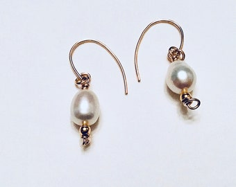 10k gold plated pearl drop earrings, minimalist