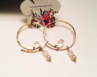 14k Gold fill hammered large circle hoop earrings, freshwater pearls, moonstone rectangles on gold plated fancy ear wires
