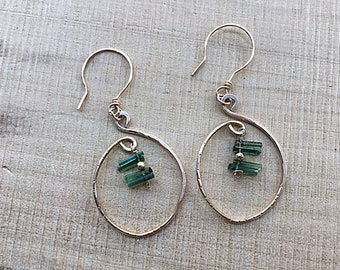 Natural deep green tourmaline sticks on 14k gold fill marquis freeform earrings
