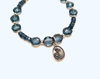 Kyanite rondelles and London blue topaz quartz coin beads,tiny round sterling beaded bracelet, dandelion charm