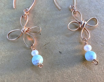 Larimar, pearls and 14k rose gold fill loopy flower earrings on rose gold marquis ear wires