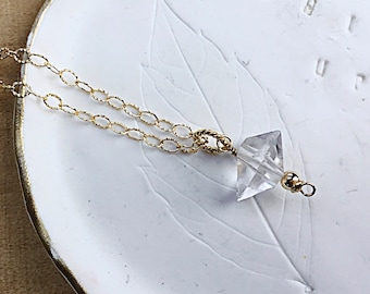 Herkimer Diamond pendant necklace on 14k gold fill textured cable chain, minimalist, April birthstone