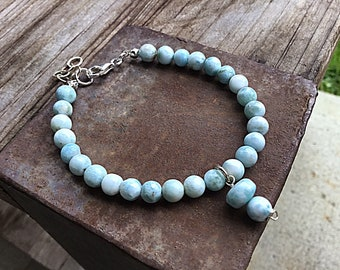Genuine 6mm ocean blue larimar beaded bracelet, larimar charm