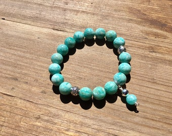 Natural Russian amazonite 10mm round beaded bracelet with 2 sterling barrel beads, amazonite and sterling charm