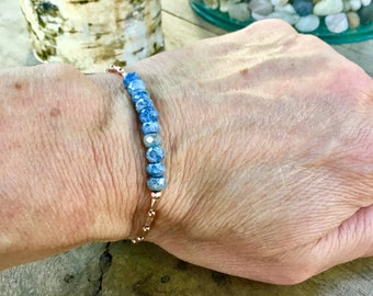 14k Rose gold vermeil over 925 sterling , AAA blue silverite, faceted tiny beaded bracelet, seed beads, Karen Hill Tribe