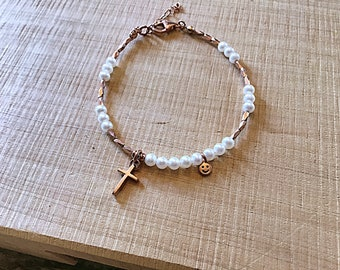14k Rose gold vermeil over 925 sterling , freshwater pearl beads, faceted tiny beaded bracelet, Karen Hill Tribe, cross and happy face charm