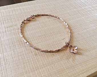 14k Rose gold vermeil over 925 sterling , faceted tiny beaded bracelet, Karen Hill Tribe, flower charm