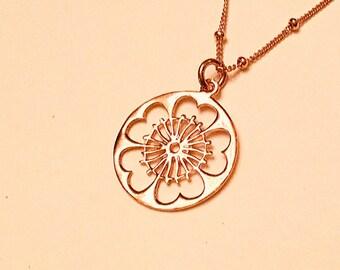 14k Rose gold vermeil over 925 large filagree disc pendant necklace, satellite chain, minimalist