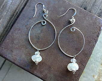 AA Rainbow moonstone rondelles on sterling marquis swirly earrings, minimalistic, textured