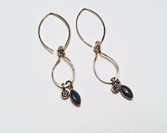 Labradorite and Karen Hill Tribe silver daisy charms on 925 sterling freeform earrings on sterling ear wires, textured