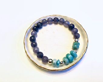 Genuine Larimar smooth rondelle beaded bracelet with grey agate beads, sterling heart and round beads