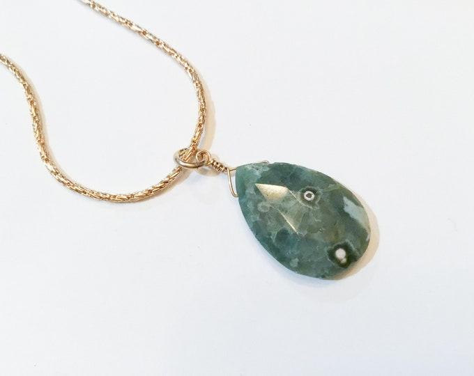 Large ocean jasper pendant necklace on gold fill snake chain, minimalist