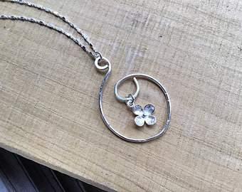 Sterling flower charm on sterling silver marquis pendant necklace, textured on dainty sterling cube chain