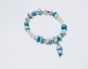 Larimar smooth rondelle beaded charm bracelet, Karen Hill barrel beads, moonstone rondelles, flat back freshwater pearls, sterling spacers