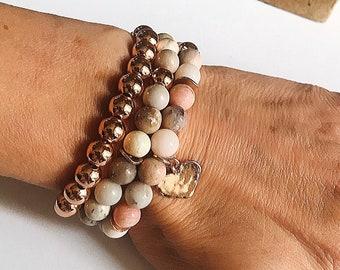 Triple stacking Pink Peruvian opal, rose gold hammered heart, rose gold bracelet and dentritic opal bracelet