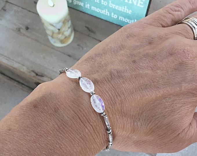 Karen Hill Tribe imprint tiny daisy imprint tube beads and imprint seed beaded bracelet with rainbow moonstone ovals