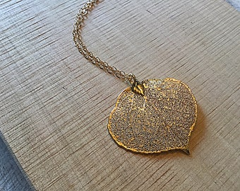 Genuine aspen leaf in 24k gold pendant on gold plated chain, necklace
