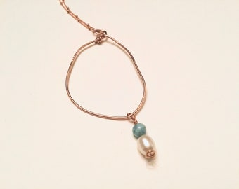 14k Rose gold fill large freeform circle pendant necklace on 14k rose gold satellite chain, larimar and pearl charm