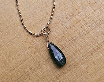 Moss Kyanite briolette on 14k gold fill ball chain, thin, minimalist