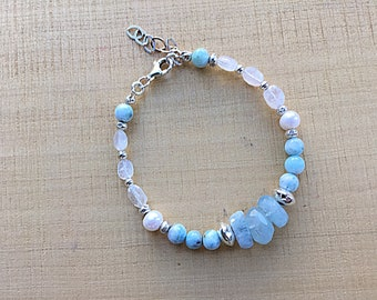 AA aquamarine freeform rondelles with natural Larimar, moonstone pebbles, Karen Hill silver beads and sterling bracelet