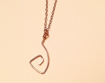 14k Rose gold fill  freeform swirly pendant necklace on 14k rose gold chain