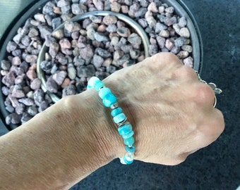 Larimar smooth rondelles, rainbow moonstone rondelle beads, pearls, Karen Hill silver, sterling mix bracelet