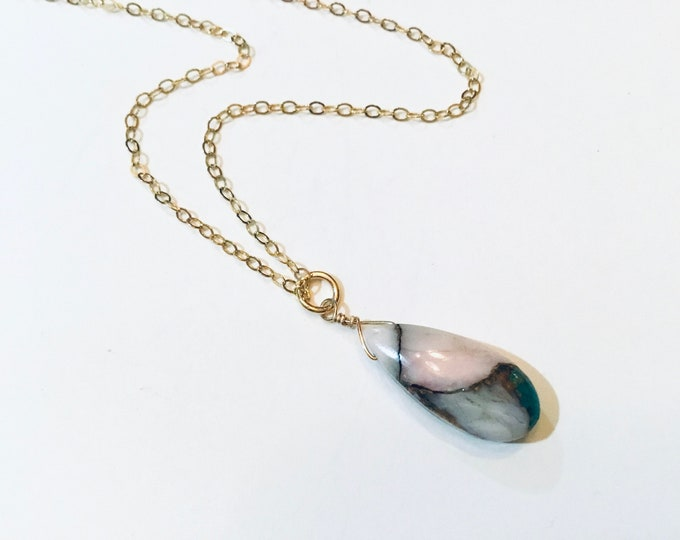 Pink copper turquoise pear on 14k gold fill chain, layering necklace
